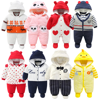 2020 Newborn Rompers Winter cotton Thick Warm Baby boy girl Clothes baby Long Sleeve Hooded Jumpsuit Kids Outwear for 0-24M autumn and winter baby boy girl clothes hooded thicken velvet padded warm cotton newborn baby snowsuit coat 6m 24m