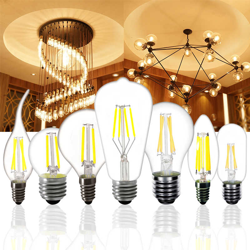 E27 E14 2w 4w 6w 8w LED Bulb G45 ST64 A60 T45 Tail candle light Retro Filament Lamp Edison Frosted glass Warm White 220v