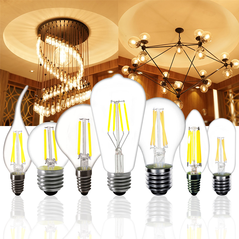 <font><b>E27</b></font> E14 2w 4w 6w 8w <font><b>LED</b></font> <font><b>Bulb</b></font> G45 ST64 A60 T45 Tail candle light Retro Filament Lamp Edison Frosted glass Warm White 220v image