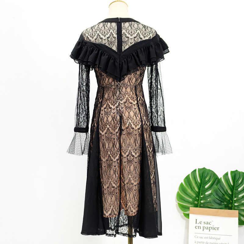 IU 장korean Korean корейское кружевное платье женское 2019 с длинным рукавом сексуальное платье с v-образным вырезом женские элегантные черные длинные вечерние платья винтажные Vestidos L485