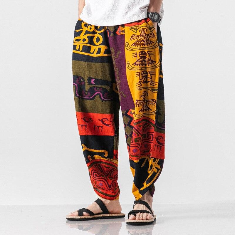 2019 Autumn Chinese-style Cotton Linen Flax Floral Capri Pants Sub-Men's Loose-Fit Large Nepal Harem Trousers