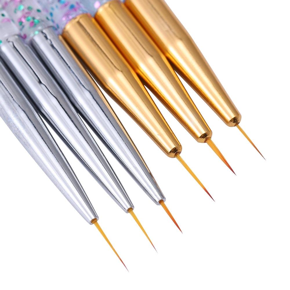 3Pcs Acryl Französisch Streifen Nail art Liner Pinsel Set 3D Tipps Maniküre Ultra-dünne Linie Zeichnung Stift UV gel Pinsel Malerei Werkzeuge