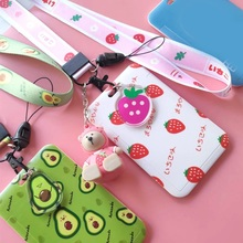 New Fashion Cute Strawberry Avocado Lanyard Credit Card ID Holder Bag Student Women Travel Bank Bus Business Card Cover Badge
