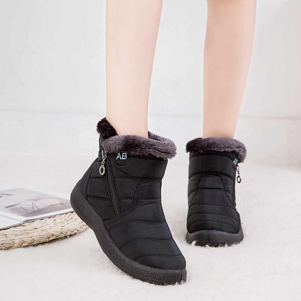 2020 nova bota de neve botas curtas do tornozelo das mulheres inverno à prova dwaterproof água calçados quentes botas femininas ao ar livre casuais botas planas