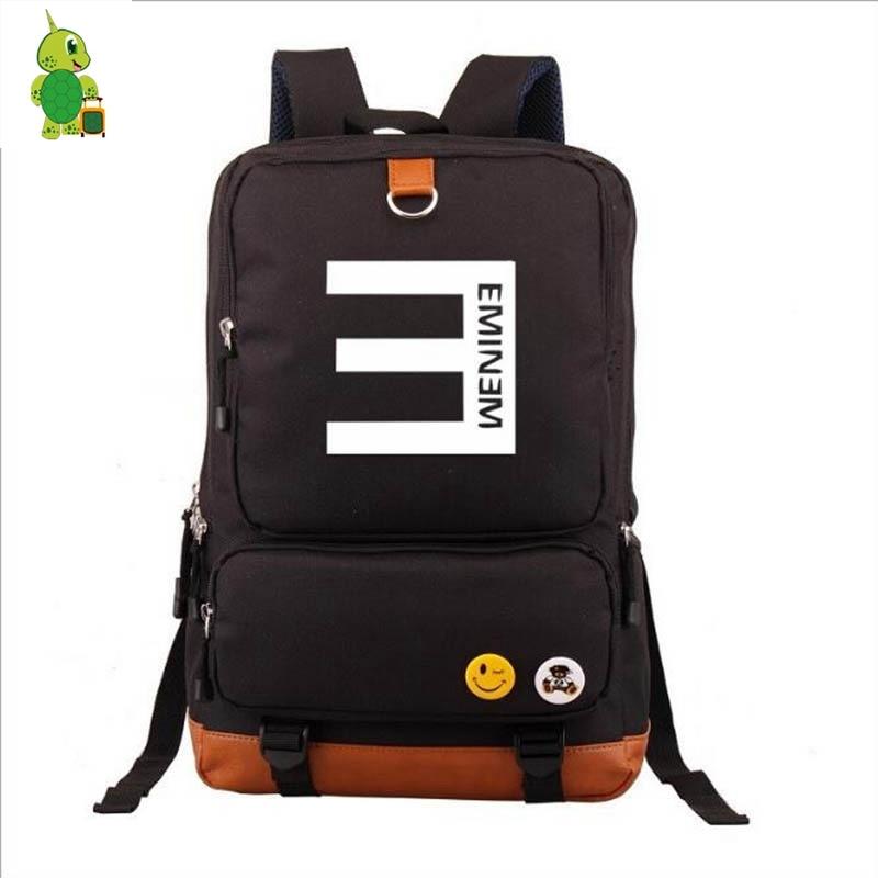 Famous Hip Hop King Eminem Backpack Canvas School Bags For Teenage Boys Girls Mochila Large Capacity Travel Bag Laptop Backpack