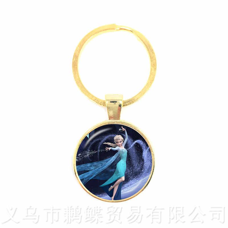 2018 ใหม่แฟชั่นพวงกุญแจ Snow Queen แก้วเครื่องประดับ Cabochon เจ้าหญิง Elsa Anna พวงกุญแจสำหรับผู้ชายผู้หญิงเด็ก