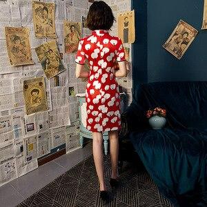 Image 3 - SHENG COCO Chi Pao nowoczesne Cheongsam czerwony biały Chi Pao Daily Short chińskie wesele sukienka ubrania Vintage jedwabiu Qipao nowy rok