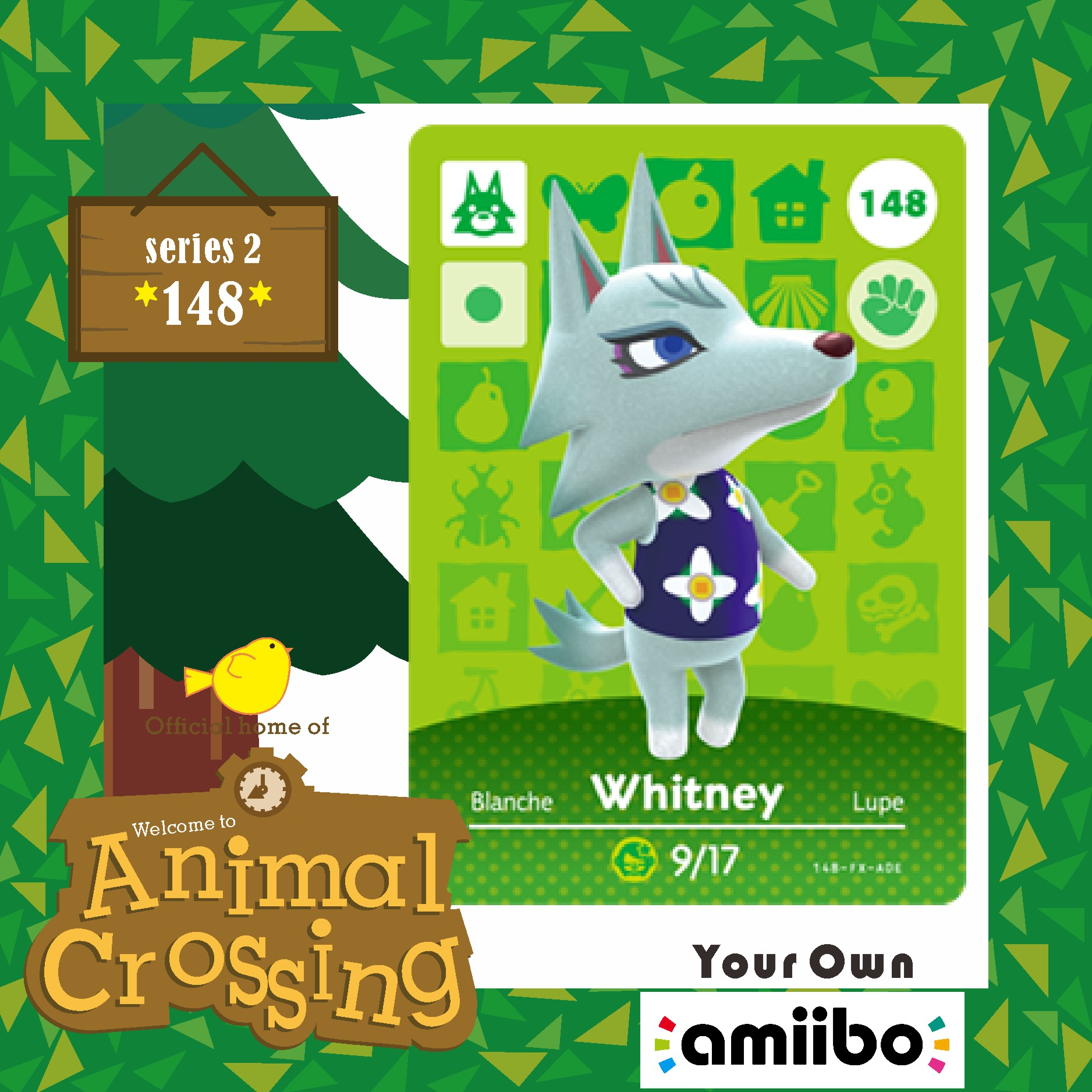 Amiibo Animal Crossing Amiibo Card 148 Amiibo Animal Crossing Amiibo Card Whitney Villager Whitney 148 Series Season Set  2