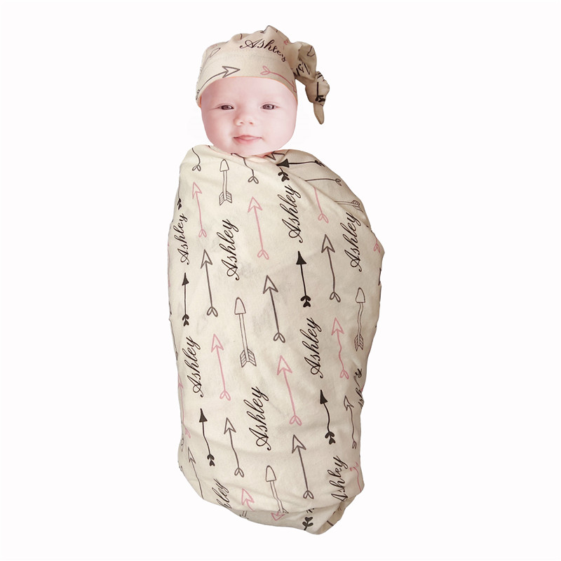 Personalized Baby Swaddle Newborn Baby Blanket Swaddling 100% Cotton Printed Name Arrow Pink Baby Bedding Gift Crib Bed Blanket