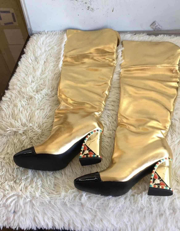 Große Größe Oberschenkel Hohe Stiefel Frauen Winter Schuhe Frauen Über Das Knie Botas Mujer High Heels Bota Feminina Laufsteg Botines mujer 2020