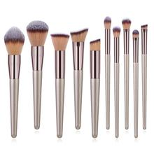 Champagne Makeup Brushes Set Foundation Powder Blush Eyeshadow Concealer Lip Eye Make Up Brush Cosmetics Beauty Tools Hot Sale 10pcs makeup brushes set foundation powder blush eyeshadow concealer lip eye make up brush cosmetics beauty tools