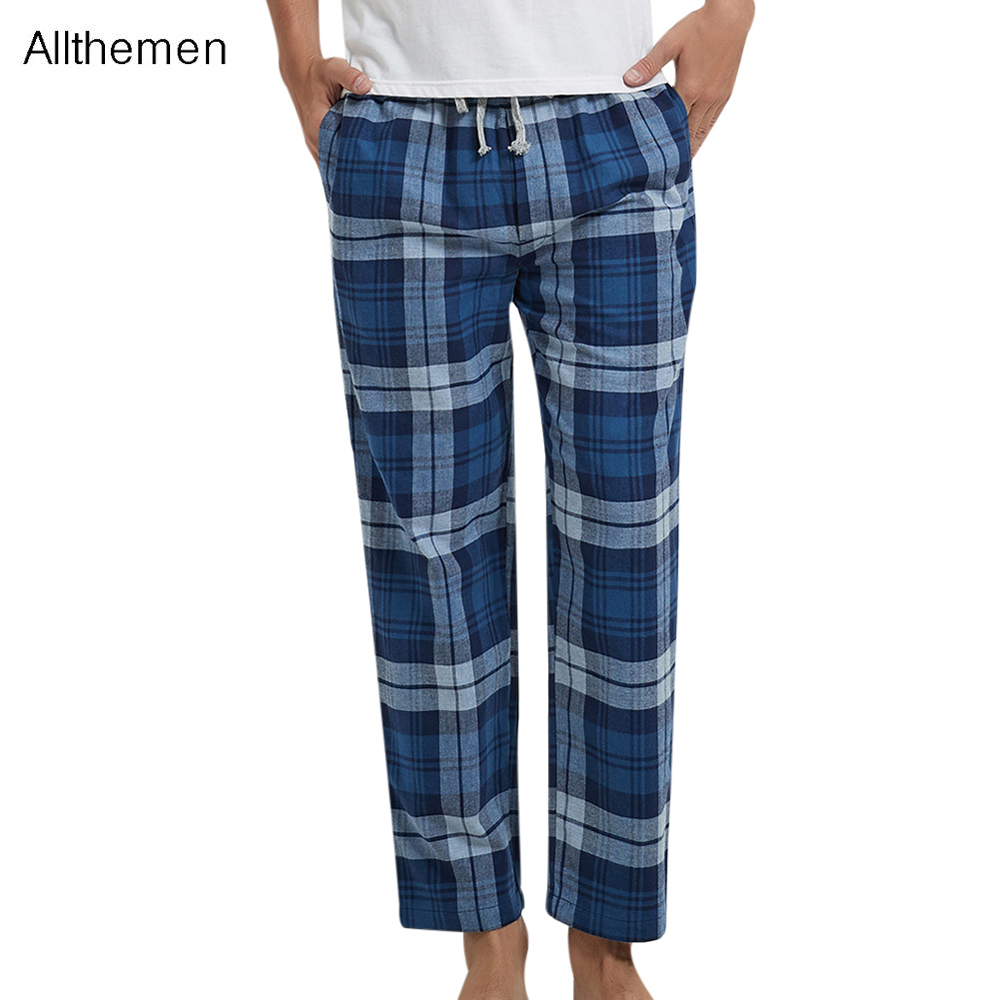 Allthemen Plaid Pants Men Pajamas For Men Man's Plaid Warm Bedgown Home Clothes Cotton Sleepwear Autumn and Winter