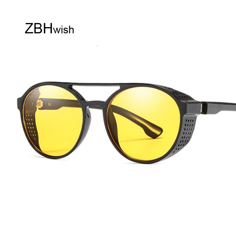 Retro Round Steampunk Sunglasses Women Side Shield Goggles Metal Frame Gothic Mirror Lens Sun Glasses Male
