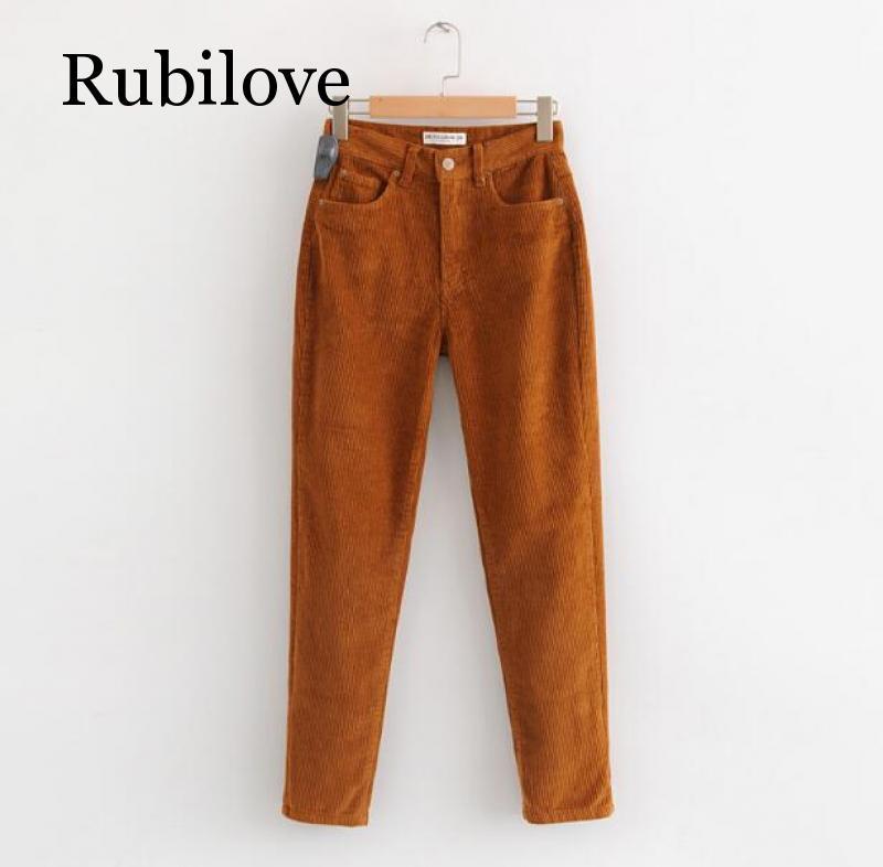 2020 Vintage Macaron Color Corduroy Pants Autumn Women Mid Waist Ankle Length Loose Harem Pants Trousers Femme Casual Long Pants