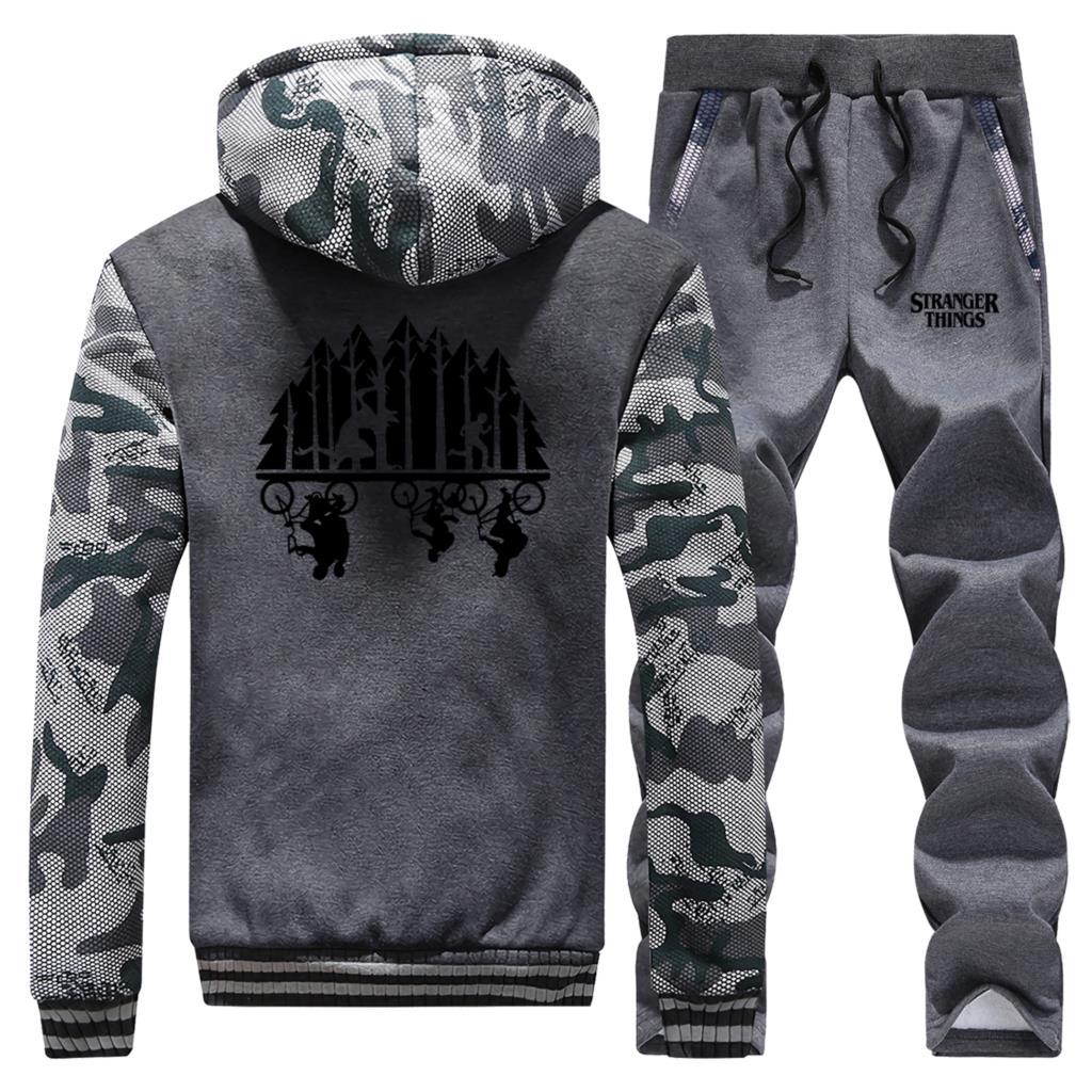 Stranger Things Tracksuits Jacket Pant Set Men Upside Down Sportsuits Sweatshirts Hoodies Sweatpant 2 PCS Camo Coat Sportswear