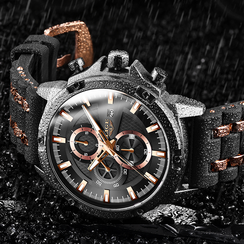 2020 New Mens Watches Top Brand Luxury Watch Men Military Waterproof Silicone strap Quartz Wrist Watch For Men Sport Chronograph 1