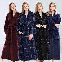 Women Winter Extra Long Thick Grid Flannel Bath Soft Peignoir Sexy Warm Dressing Gown Bathrobe Bridesmaid Wedding Robes Plaid