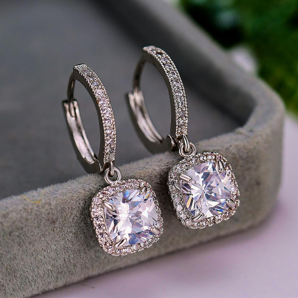 Luxury Female Crystal White Zircon Stone Earrings Blue Green Square Drop Earrings Silver Color Wedding Earrings For Women
