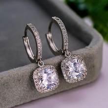 Boucles d'oreilles de luxe pour femmes, en cristal blanc, Zircon, bleu, vert, carré, goutte d'eau, couleur argent, boucles d'oreilles de mariage