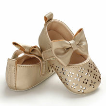 0-18M Infant Baby Girl Soft PU Shining Princess Shoes Bow Ba