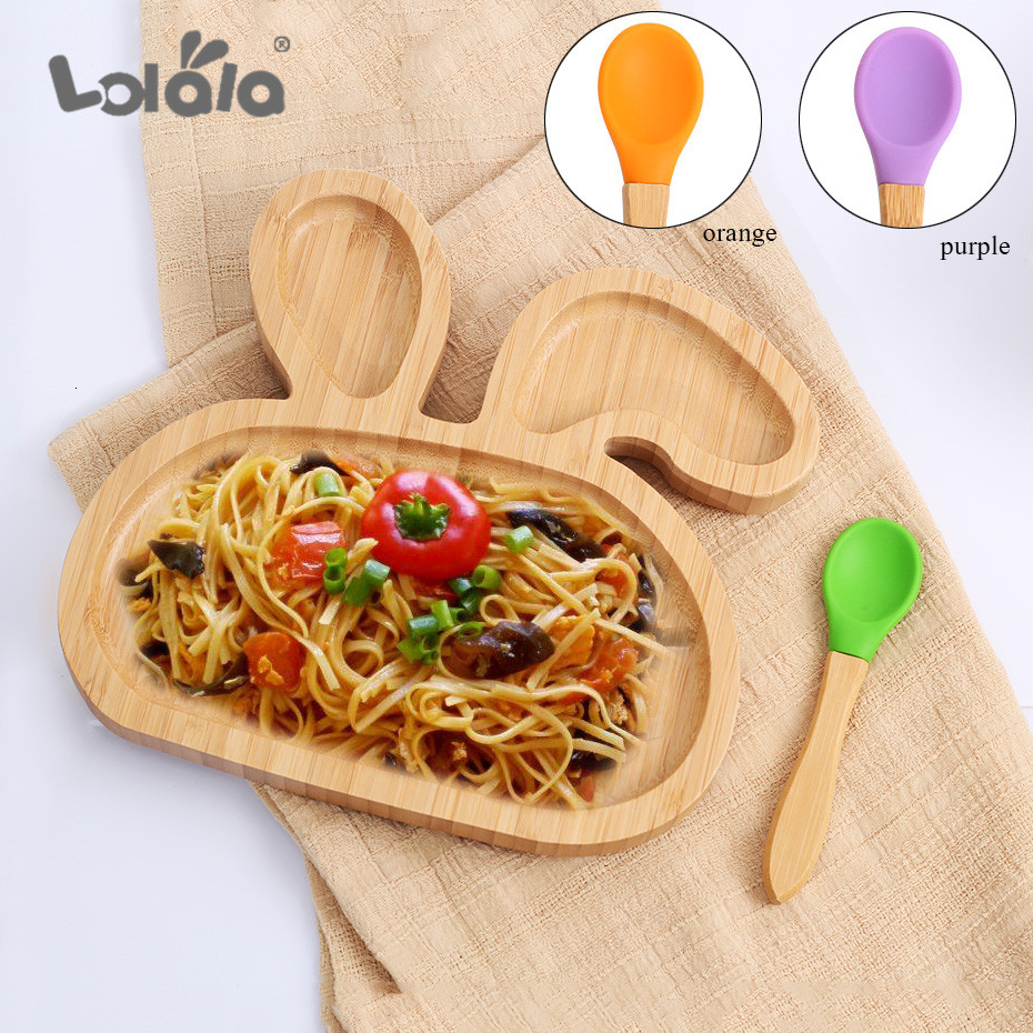 Baby Wooden Bowl Suction Bowl Bamboo Silicone Toddler Dinnerware Suction Bowl With Spoon Kids Safety Dinner Feeding Bowls Dishes