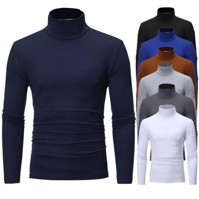 turtleneck for men Solid colour slim elastic thin pullover men Spring Autumn turtleneck men knitting brand sweater men 1