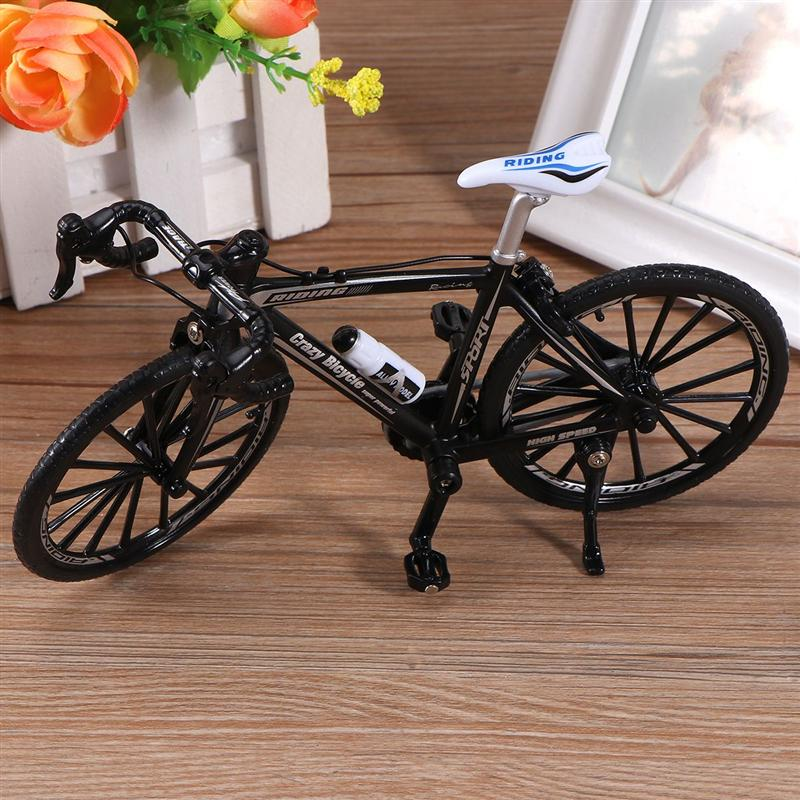 17.5x10.5cm Creative Alloy Bicycle Model 1:10 Mini Simulation Bicycle Toy (Curving Grip Black)