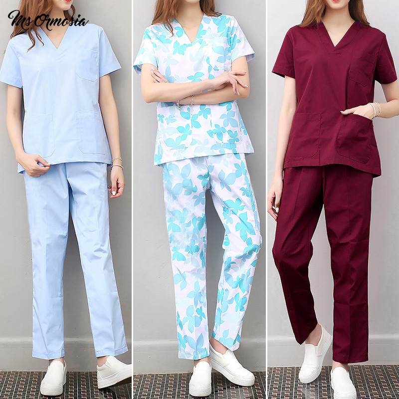 High Quality Cotton Beauty Salon Uniform Breathable Doctor Nurse Workwear Medical Surgery Clothes Dentist Pharmacist Scrubs Tops