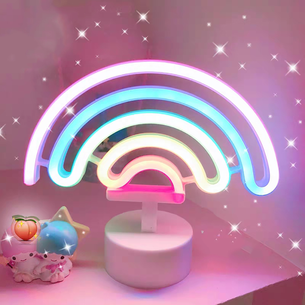 Cute Night Light Rainbow Neon Sign 3*AA Battery For Home Decora, LED Neon Lamps For Girls Child Baby Bedroom Lamp Dropshipping