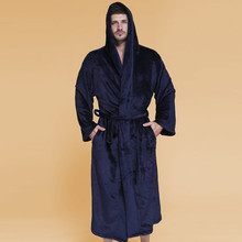 Extra Large Size Bathrobe Winter Robes Max 160 KG Flannel Bathrobes Hooded Male Robes Thick Cozy Robe Men Homewear Night Gown