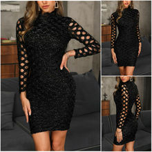 Goocheer Hollow Out Dress Sexy Women Midi Slim Reflective O-Neck Sheath Autumn Black Long Sleeve Fashion Party