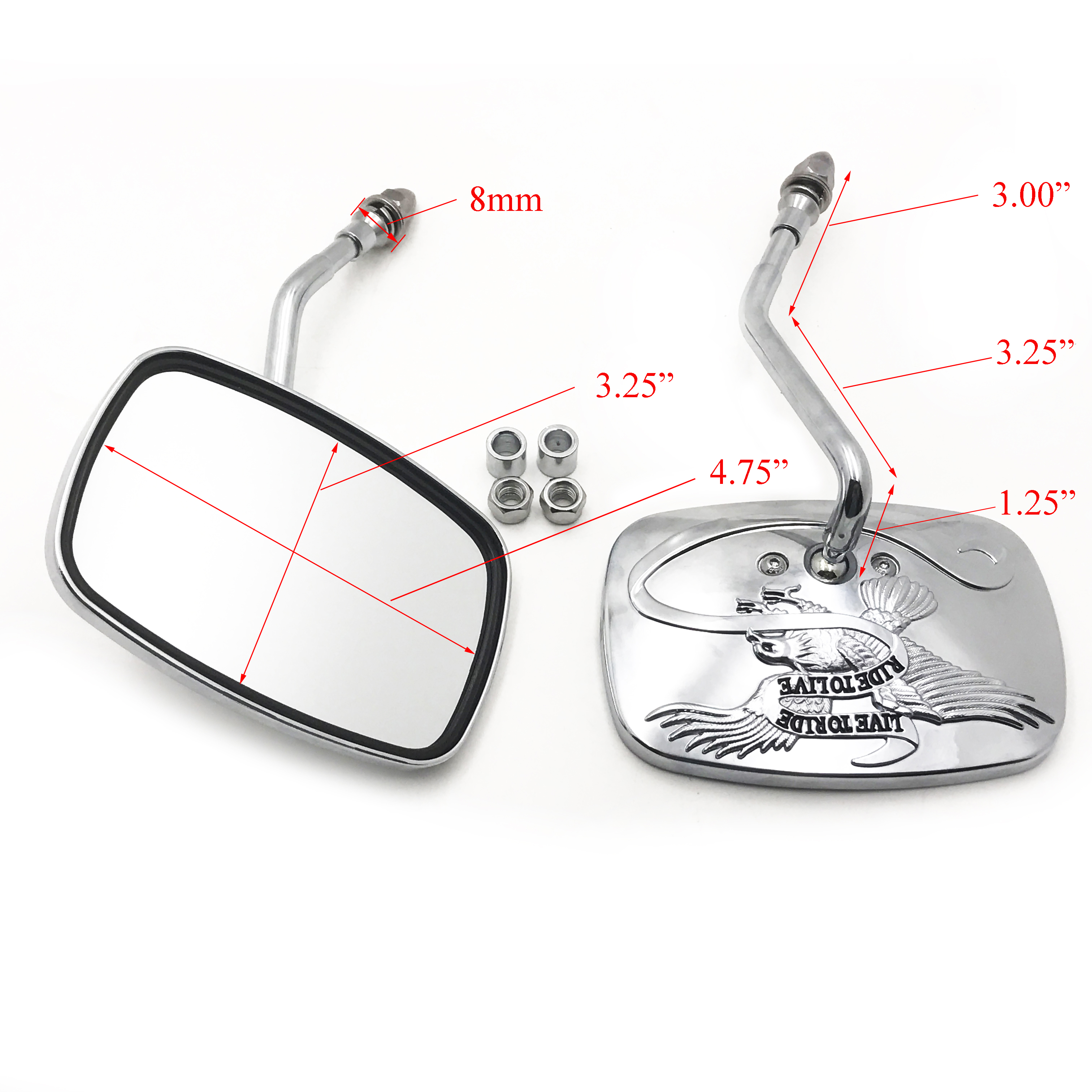 RearView Mirrors For H-D street sports chopper cruiser Eagle Spirit Live to Ride