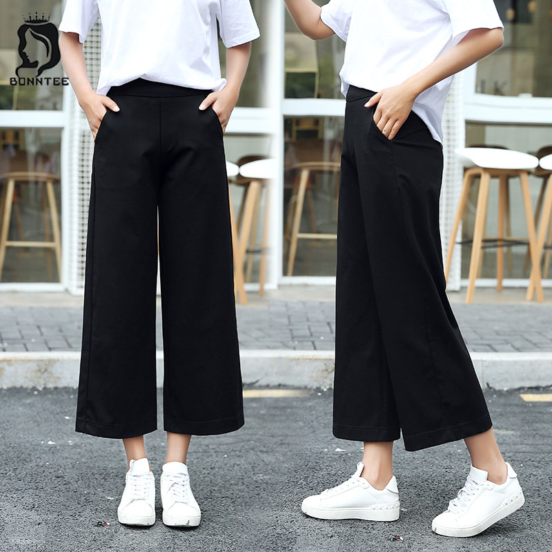 Plus Size Solid Chiffon Wide Leg Pants High Waist Korean Style Trendy Womens Trousers Loose Student Casual Women Thin Breathable