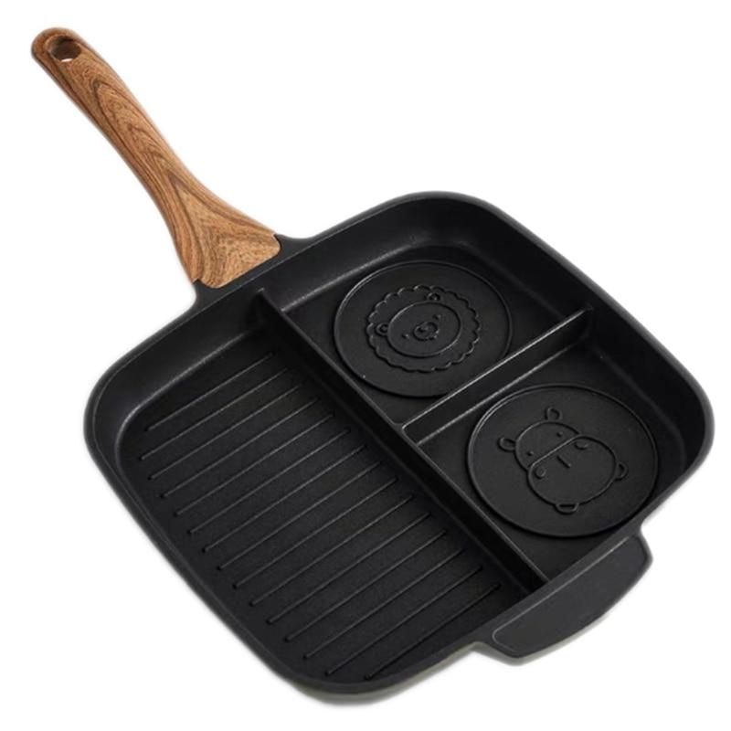 Stone Ceramic Steak Grill Pans Breakfast Frying Eggs Pan Non-Stick Frying Pan Kitchen 3 Grid Multifunctional 3-In-1 Frying Pan C
