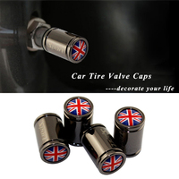Car Accessories Metal Wheel Tire Stem Valve Caps Covers for Flag of The UK Logo for MG Jaguar Bentley Land Rover BMW Mazda Volvo