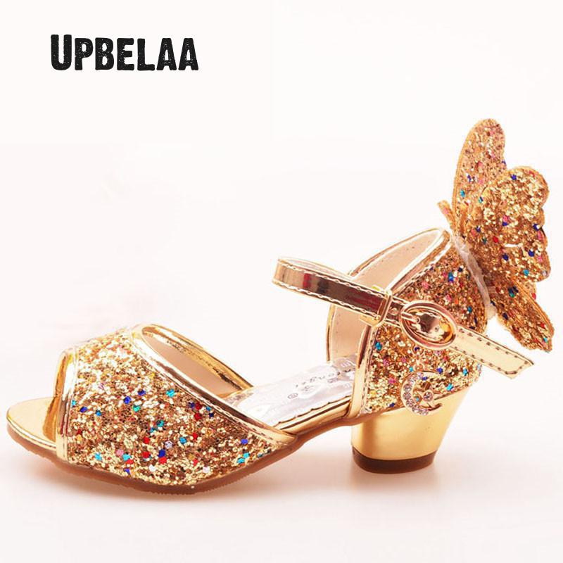 Kids Shoes Glitter Leather  Party Dress Wedding Girls Sandals Rhinestone Butterfly Latin Dance Children High Heel Princess Shoes
