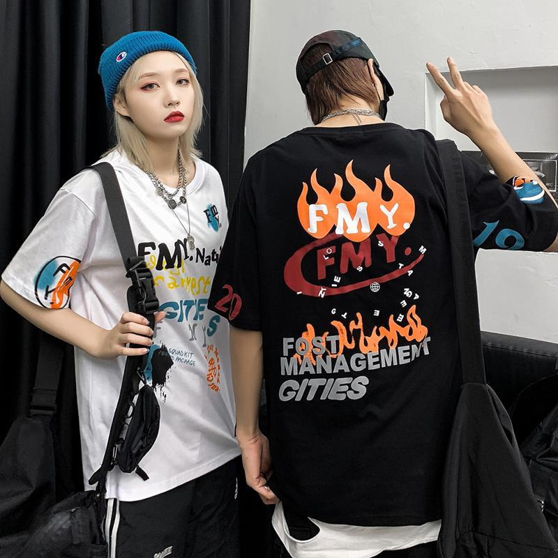 2020 Summer t-shirt Couple clothes T-shirt women <font><b>tshirt</b></font> Unisex Graffiti Bf Trend Loose Large Size <font><b>Hong</b></font> <font><b>Kong</b></font> Style Half-sleeve image