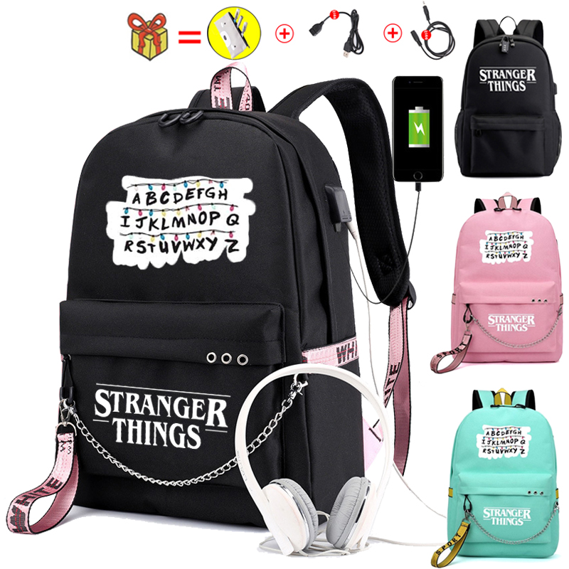 Female Backpack  Stranger Things Canvas Backpack Canvas Student Schoolbag Women Letters Print Girls Ribbons USB Charge  Backpack