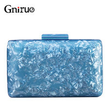 New Fashion Acrylic Bags Shell Evening Clutches Pearlescent Women Shoulder Bag Ladies Box Party Prom Wedding Handbags Purses(China)