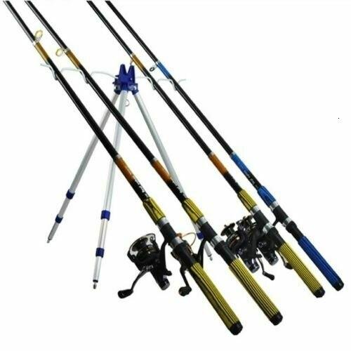 Cañero Trípode 4 Cañas Pescar Soporte Pesca Caña Altura Ajustable Pica 3 Piernas