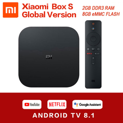 Original mundial Xiaomi funda para TV Mi S 4K HDR Android TV 8,1 Ultra HD 2G 8G WIFI Google Cast Netflix Set top Mi caja de 4 reproductor de medios