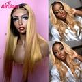Парик из длинных прямых человеческих волос HD прозрачного цвета 1b 27, с эффектом омбре, с медовым светлым кружевом, передние парики для черных ...