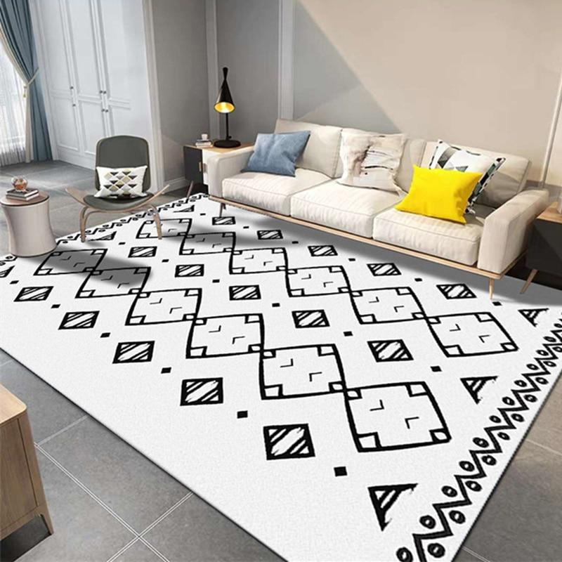 Maroc Style noir blanc tapis salon moderne géométrique tapis chambre étude chambre tapis de sol tapis turc maison Vintage tapis