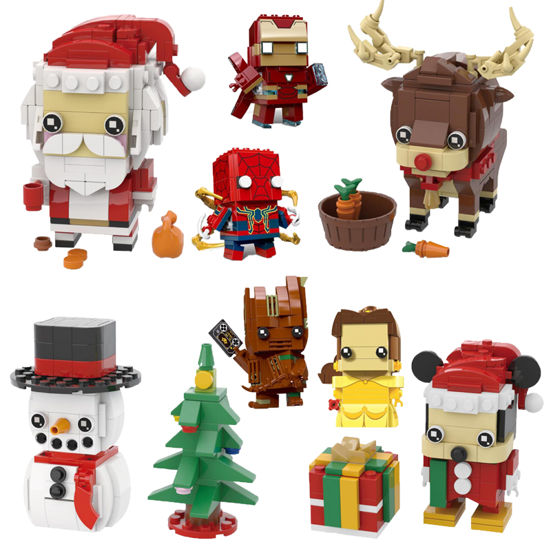 NEW brickheadz Legoinglys Christmas The Avengers Justice League Marvel Super Hero Hulk Thanos Building Block Bricks Toys