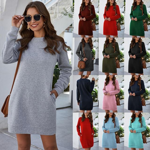 Leosoxs осенне-зимнее платье-свитер с круглым вырезом и длинным рукавом для женщин 2020 Новое модное однотонное свободное мини-платье с карманом для женщин Vestidos 5