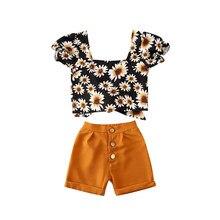 Vêtements pour enfants, costumes pour filles, tenues florales, débardeur + short, 2020