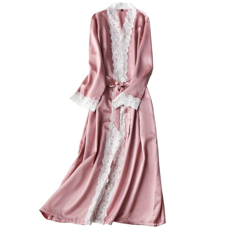 Silk lace Long Robe summer Ladies nightgowns women's thin bathrobe Sexy Ladies Silky Bathrobe Women indoor nighty