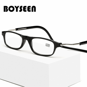 Fashionable magnetic reading glasses can hang neck folding glasses to prevent presbyopia glasses