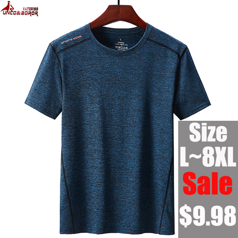 Plus Size 6XL 7XL 8XL Summer Streetwear Hip Hop Clothing Men T-Shirt Outwear Quick Dry Sportswear Joggers Running Tops&Tees