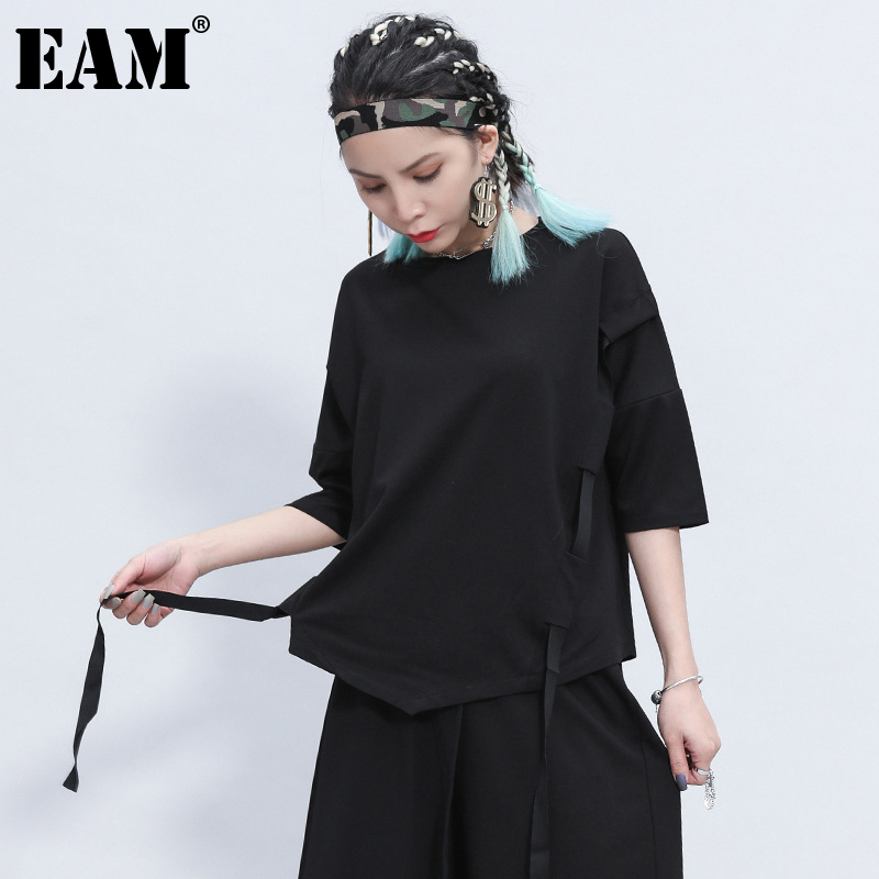 [EAM] Women Black Ribbon Split Big Size T-shirt New Round Neck Three-quarter Sleeve  Fashion Tide  Spring Summer 2020 1Z355 1